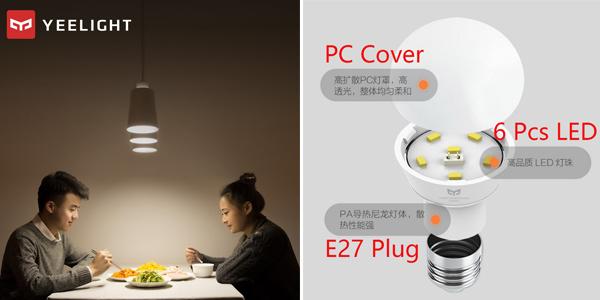 Comprar Bombilla LED Xiaomi 5Wcon casquillo E27 chollazo en AliExpress