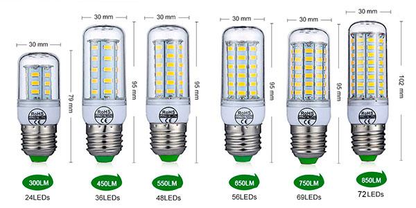 Bombillas mazorca LED con casquillo E27 y E14 baratas