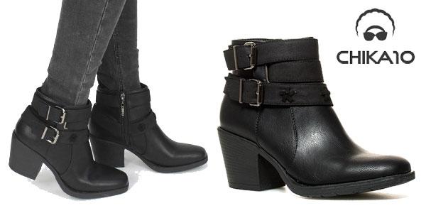 Botines Chika10 en color negro para mujer baratos