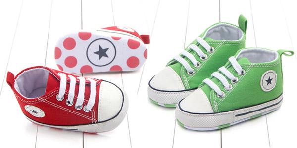 Zapatillas de tela para bebé estilo Converse chollo en AliExpress