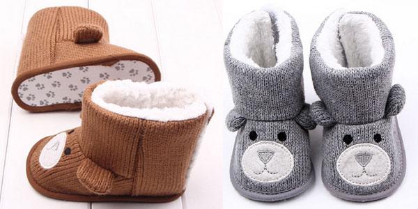 Botitas para bebé con forro y forma de osito baratas en AliExpress