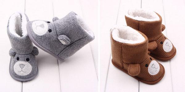 Botitas para bebé con forro y forma de osito chollo en AliExpress