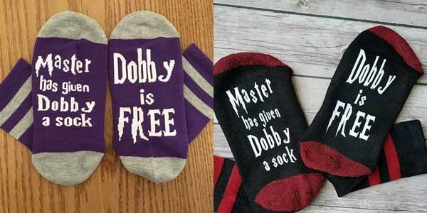 "Calcetines Harry Potter ""Dobby is Free"" en talla única baratos en Aliexpress"