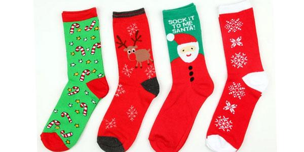 Calcetines navideños largos de diseño unisex baratos en AliExpress