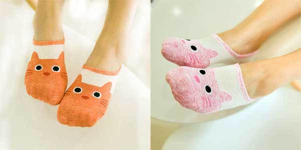 Pack de 5 pares de calcetines tobilleros HSS para mujer con diseño gatitos chollazo en AliExpress