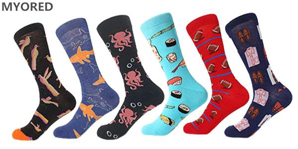 Selección de calcetines altos con divertidos diseños chollo en AliExpress