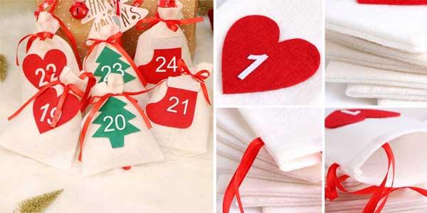 Calendario de adviento de fieltro con 24 bolsitas chollo en AliExpress