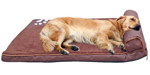 Cama acolchada con almohada para perros