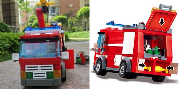 Camión de bomberos con accesorios estilo LEGO