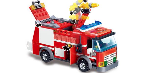 Juego camión de bomberos tipo LEGO barato