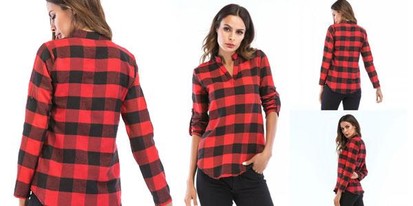 Blusa para mujer estilo camisa de cuadros chollo en AliExpress