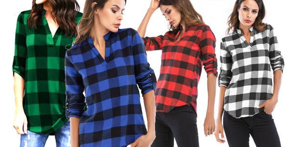 Blusa para mujer estilo camisa de cuadros barata en AliExpress