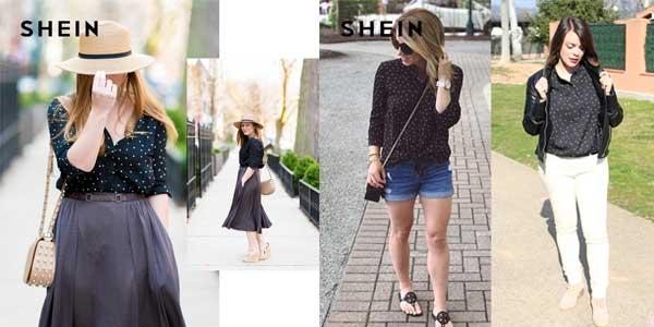 Camisa Shein de color negro con lunares chollazo en AliExpress