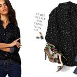 Camisa Shein de color negro con lunares barata en AliExpress