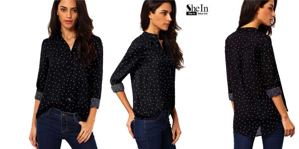 Camisa Shein de color negro con lunares chollo en AliExpress