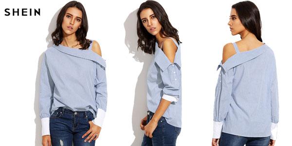 Camisa Shein a rayas con un hombro al aire barata en AliExpress