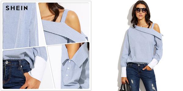 Camisa Shein a rayas con un hombro al aire chollo en AliExpress