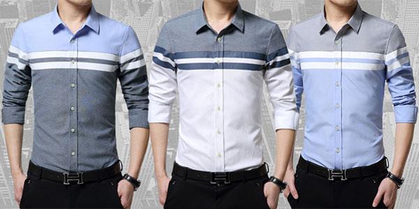 Camisa slim fit de manga larga para hombre