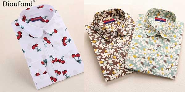 Camisa de manga larga estampada Dioufond para mujer