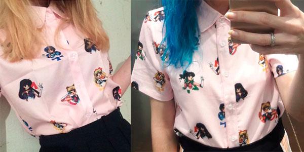 Camisa estampada Sailor Moon para mujer rebajada
