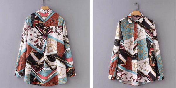 Camisa con estampado patchwork de cadenas para mujer barata en AliExpress