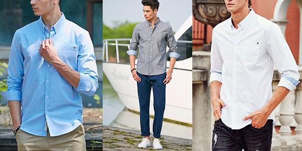 Camisa de manga larga para hombre barata