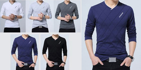 Camiseta de manga larga para hombre barata en AliExpress