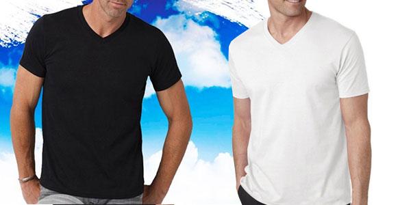 Camiseta casual básica Happy Time manga corta cuello de pico muy barata