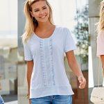 Camiseta bordada Venca con volantes en tres colores para mujer barata en AliExpress Plaza