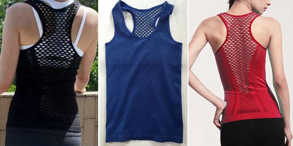 Camiseta de yoga de tirantes para mujer chollo en AliExpress