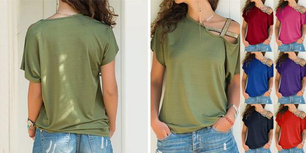 Camiseta con un hombro al aire y escote oblicuo para mujer barata en AliExpress