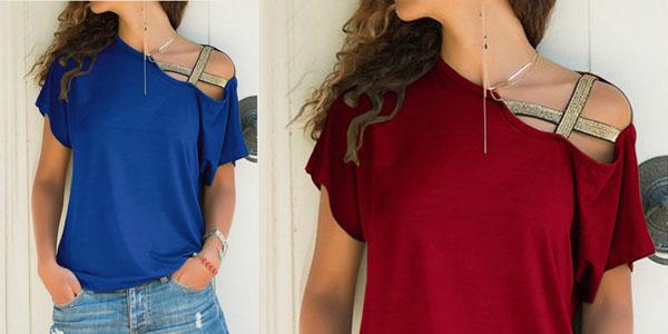 Camiseta con un hombro al aire y escote oblicuo para mujer chollo en AliExpress
