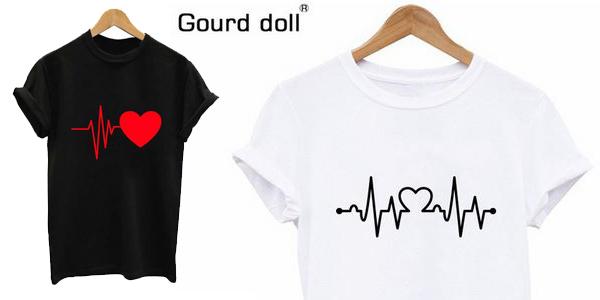 Camiseta de manga corta para mujer con estampado de latidos de corazón