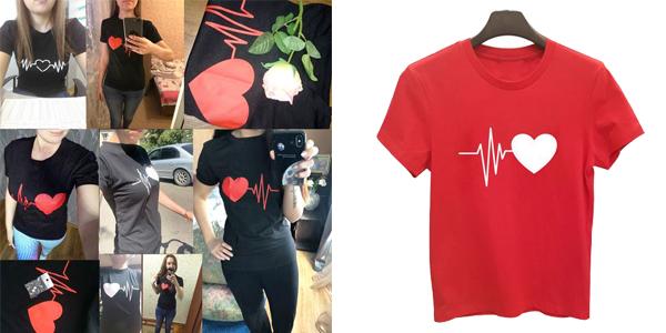 Camiseta de manga corta para mujer latido corazón barata