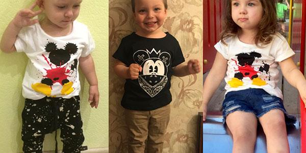 Camiseta infantil de algodón de Mickey y Minnie barata