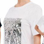 Camiseta de manga corta Z&L con lentejuelas para mujer barata en AliExpress
