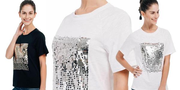 Camiseta de manga corta con lentejuelas para mujer