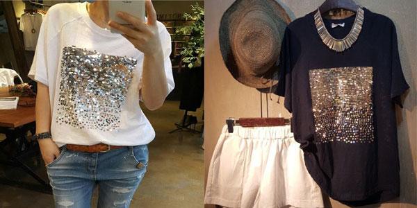 Camiseta de manga corta con lentejuelas en color blanco o negro