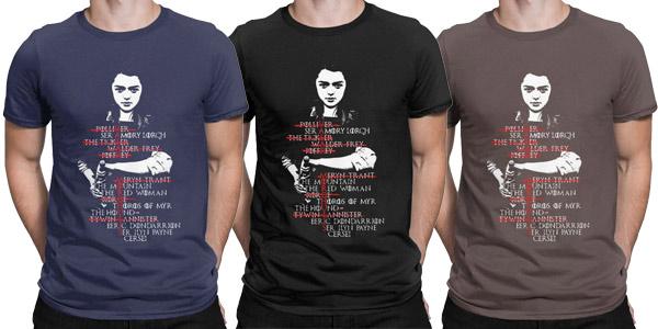 Camiseta manga corta Lista de Arya Juego de Tronos chollo en AliExpress