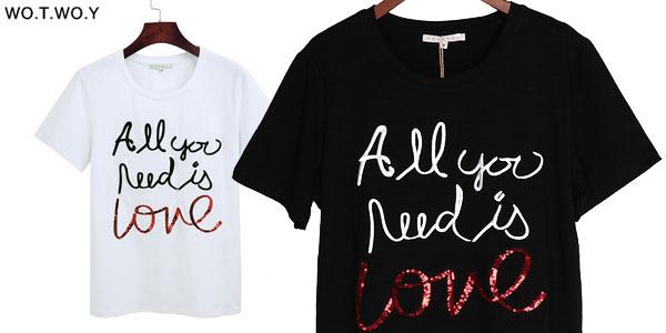Camiseta de manga corta para mujer All You need is Love en Aliexpress