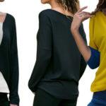 Camiseta manga larga con estampado patchwork para mujer barata en AliExpress