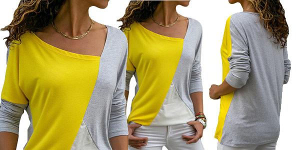 Camiseta manga larga con estampado patchwork para mujer chollo en AliExpress