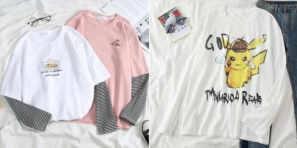 Camisetas de manga corta con divertidos estampados para mujer chollo en AliExpress