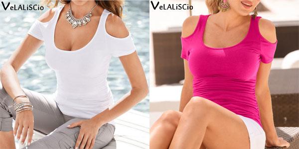 Camiseta de mujer Velaliscio de manga corta barata en AliExpress