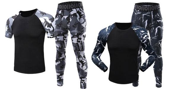 Pack de camiseta y mallas de deporte para hombre baratos en AliExpress