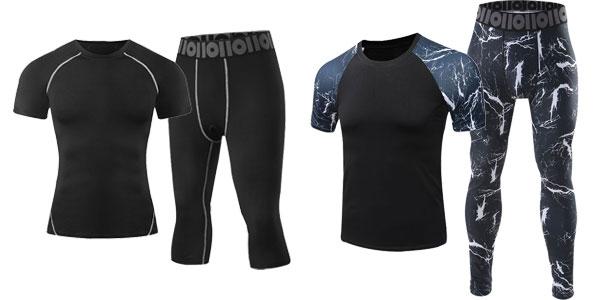 Pack de camiseta y mallas de deporte para hombre chollo en AliExpress