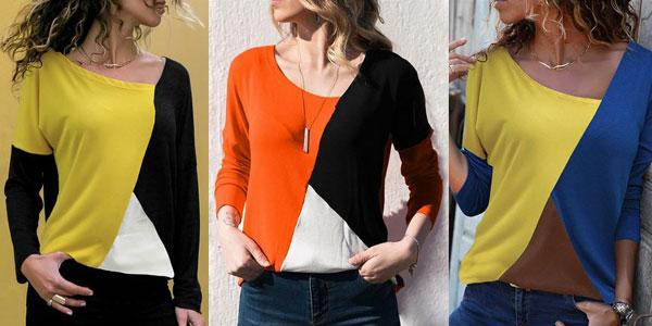 Camiseta de manga larga con diseño patchwork y escote asimétrico para mujer barata en AliExpress
