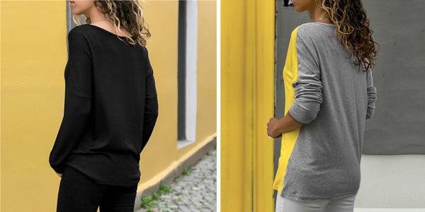 Camiseta de manga larga con diseño patchwork y escote asimétrico para mujer chollo en AliExpress