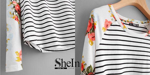 Camiseta a rayas Shein de manga raglán con estampado floral y bajo redondeado en color blanco chollazo en Shein