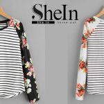 Camiseta a rayas Shein de manga ranglan con estampado floral y bajo redondeado en color negro o blanco barata en Shein